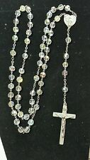 """A Gale Inc Sterling Virgin Mary 22"""" Crystal Rosary"""