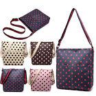 Women Messenger Oilcloth Cross Body Satchel Shoulder Tote Bag Polka Dots Small