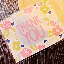 Plastic Resealable Biscuit Bags Thank You And Flowers Self-Adhesive About 100pcs