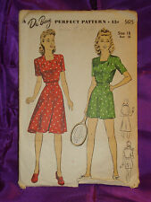 40s Vintage Frnt Button Playsuit n Wrap Skirt CMPLT DuBarry Pattern 5469 Bust 34