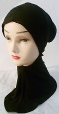 Hijab Styling Under Scarf Ninja Inner Neck Chest Plain Hat Cap Bonnet  Black