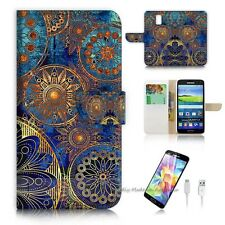Samsung Galaxy S5 Flip Wallet Case Cover! S8500 Abstract Flower
