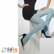 DUSKY BLUE OPAQUE TIGHTS PANTYHOSE ladies fancy dress accessory womens hosiery