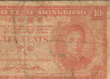 1940's Hongkong KGVl 10 cents Banknote  ! well used !
