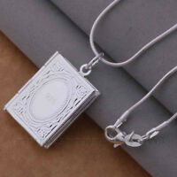 BOOK LOCKET Pendant Necklace, 925 Sterling Silver Plate, PHOTO PICTURE Hair Lock