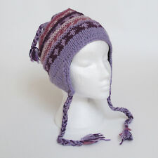 Funky HAND Knitted Invernale di Lana a Costine Peruviana Stile Earflap CAPPELLO UNISEX reh2
