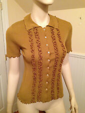 PRADA 100% Cotton Short-Sleeve BROWN RUFFLED BUTTON-DOWN SHIRT BLOUSE Medium 8