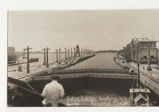 Gatun Locks Looking Into Lake Panama Canal Vintage RP Postcard 330a