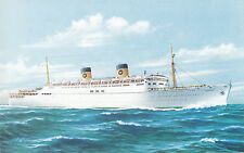 Home Lines Ocean Liner S.S. HOMERIC 1954 Artist Signed Advertising Postcard