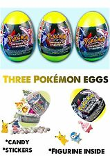 NEW 3 POKEMON SURPRISE EGGS WITH FIGURE AND CANDY