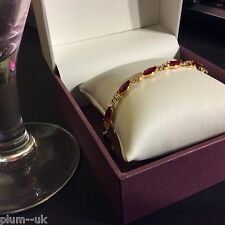 "GB135 Red marquise ruby & diamond white crystal 7"" gold gf bracelet Plum UK BOXD"