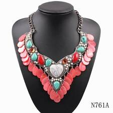 new turquoise stone vintage necklace alloy pearl shell chunky statement necklace