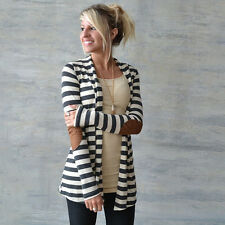 Womens Striped Sweatshirt Cardigan Waterfall Boho Wrap Blazer Outwear Coat Tops