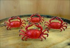 4 RED CRAB SHELLFISH METAL PULLS DRAWER CABINET HANDLES KNOBS beach ocean decor