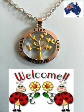 BN 2016 SILVER N GOLD PLATED LIVE,LAUGH,LOVE,FAMILY TREE OF LIFE NECKLACE 192W