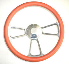 "Harley Davidson Golf Cart 14"" Orange Steering Wheel Includes Horn & Adapter"