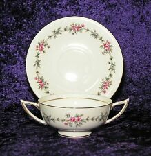 MINTON S-707 MELBURY GOLD BAND DOUBLE HANDLED CREAM SOUP CUP W/ SAUCER PINK ROSE