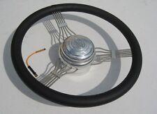 GM Stainless Steel Black Leather 15'' Banjo Steering Wheel w/ Nostalgic V8 Horn