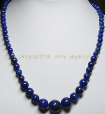 "NATURAL 6-14MM DARK BLUE LAPIS LAZULI GEMS ROUND BEADS JEWELRY NECKLACES 18"" AA"