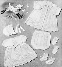 BABY LAYETTE rose leaf / 3 to 9 months - COPY vintage baby knitting pattern