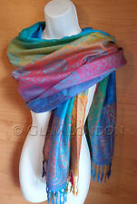 New Rainbow Viscose Pashmina Scarf Paisley Print Soft Warm Womens Wrap/Shawl