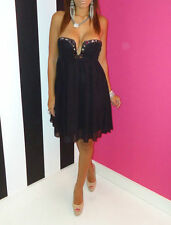 Lipsy Stunning Black Chiffon Diamante Embellished Strapless Glam Dress 10 BNWT