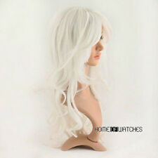 Hot~New Long Curly White Hair Wig Fashion Cosplay Party Costumes Full Wigs //