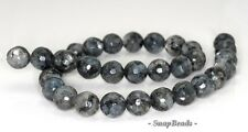 10MM LARVIKITE GEMSTONE GREY BLACK FACETED ROUND 10MM LOOSE BEADS 15""
