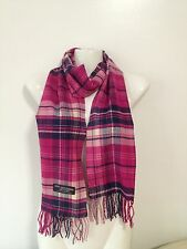 100% CASHMERE SCARF PLAID DESIGN7 COLOR PINK NAVY MADE IN SCOTLAND SUPER SOFT