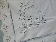 "Antico vintage ricamato a mano Cutwork pizzo Tea TABLECLOTH ""MALTESE CROSS"""