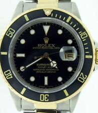 Rolex Submariner Date 18K Yellow Gold & Stainless Steel Watch Black Sub 16803