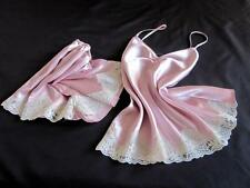 Lacy Pink Satin Cami + French Knickers Set S Sexy Slinky Camisole Sleep Set PJs