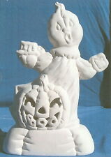 SOFTY GHOST WITH BOO PUMPKIN             CERAMIC BISQUE HALLOWEEN U-PAINT GHOSTS