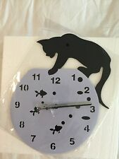 Battery operated cat lover kitty fishbowl fish bowl wall hanging clock ~NEW~