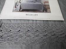 BELLA LUX Shabby Chic Crochet Lace Gray Linen Cotton Quilt Coverlet - Full/Queen