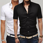 NWT Men's Slim Dress Boys Male Shirts Tops Casual Business Formal In Black White