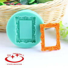 Rectangle Mirror Frame Silicone Fondant Mould Cake Decor Chocolate Baking Mold