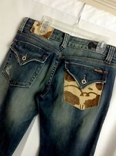 MISS ME LOW RISE COW FLAP POCKET STRETCH JEANS WOMENS SIZE 28 Western A14