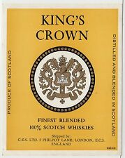 KING'S CROWN BLENDED SCOTCH WHISKY: Whisky label (C19410).
