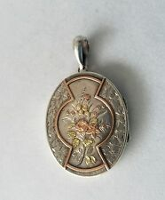 Large Antique Victorian Sterling Silver Rose Gold Engraved Locket Pendant