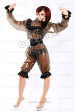 100% Latex Rubber Gummi Maid Maiden Catsuit Ganzanzug Streifen Anzug Coat Kostüm