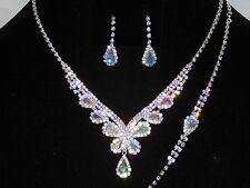 Bridal Silver W. AB Rhinestone 3PC Necklace, Bracelet and Teardrop Earrings