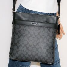 NWT Coach Bowery Signature Charcoal Black Leather Xbody Shoulder File Bag 71877