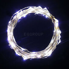 Cool White 50 LED String Battery Operated 5M Silver Wire Fairy Light Xmas