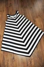 Lagenlook°schräges Tunika-Kleid°Blockstreifen°black&white°44,46,48,L,XL,XXL
