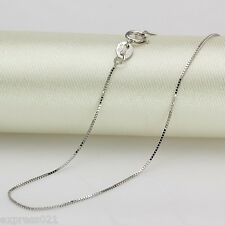 15.7inches  Solid Pure 18K White Gold Necklace/ Box Link Chain Necklace/ 1.5-2g