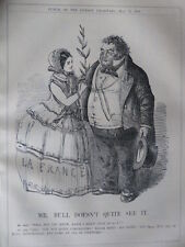 """7x10"""" PUNCH cartoon 1856 MR BULL DOESN`T QUITE SEE IT france peace"""