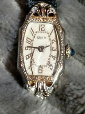 Antique 1934 Gruen Ladies watch Solid 14k + 6 Natural diamonds + sapphire crown