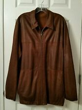 Men's ROSSI & CARUSO Goat Skin Brown Leather Zip Up Reversible Jacket~Size Large