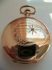 Waltham pocket watch / pendant (14k solid gold Hunter case with 5 diamonds) 1903